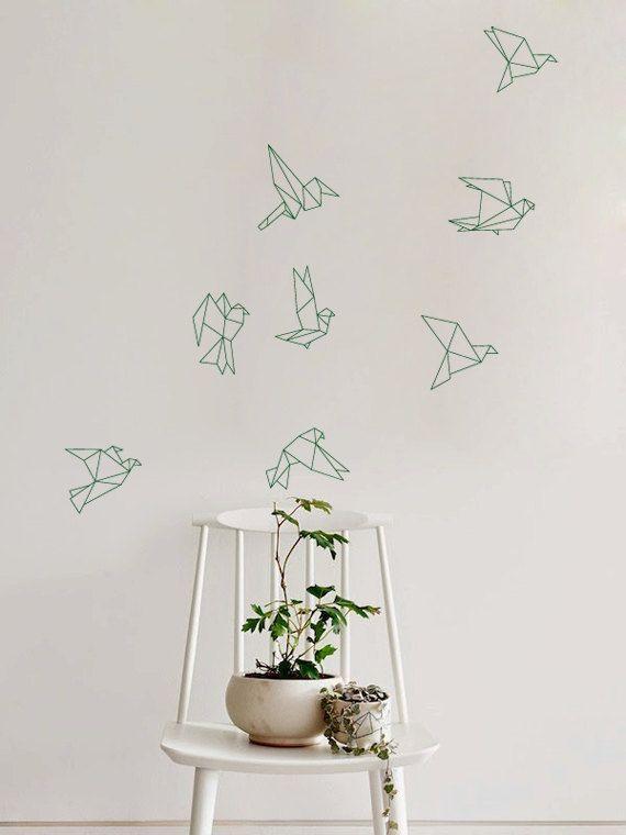 Stormo di volo Origami uccelli decalcomania per casa, dormitorio, ufficio, salotto o camera da letto