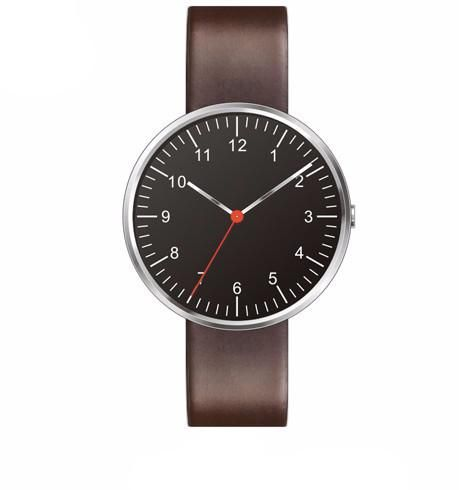 Mens Minimalist Brown Leather Watch, Silver Case With Black Dial. Free Shipping.