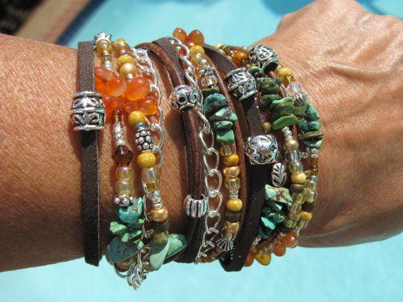 Boho  Endless Leather/Suede Wrap Beaded Bracelet  by fleurdesignz, $39.00