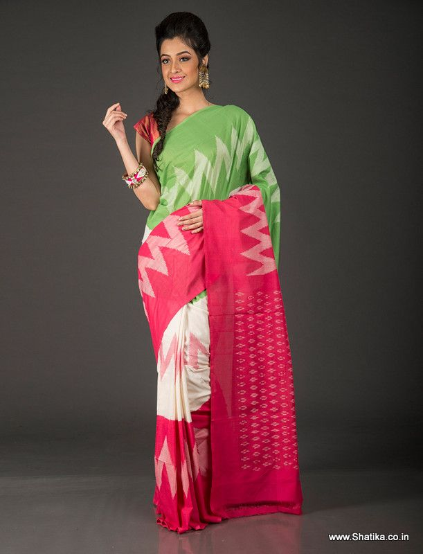 Spread out all over are the imprints of an age old craft called Ikat, which adds to the traditional element of this saree. Pochampally cotton sarees are always loved, but this one has something special to it. Multi shades of pink, green, and white render color variety and make you look resplendent. Shop this Tanohari Zig-Zag Pattern Pink-Green Ikat Pochampally Cotton Saree to look 'beautifuly Indian.'