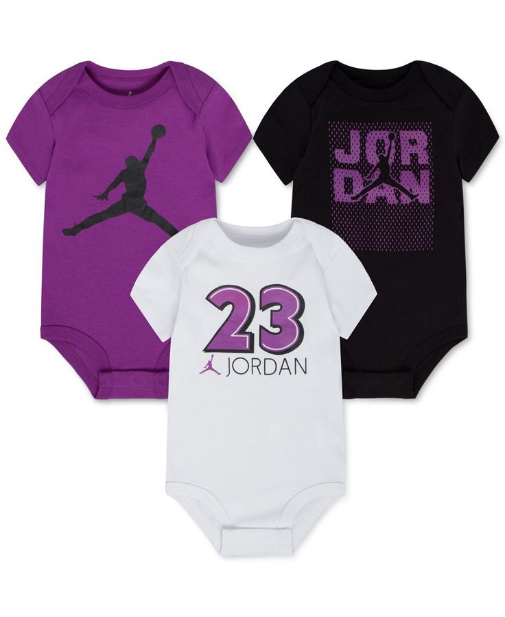 Made from ultra-soft cotton that moves when she does, these bodysuits from Jordan make sure that she stays comfortable no matter what the day holds. | Cotton | Machine washable | Imported | Assorted c