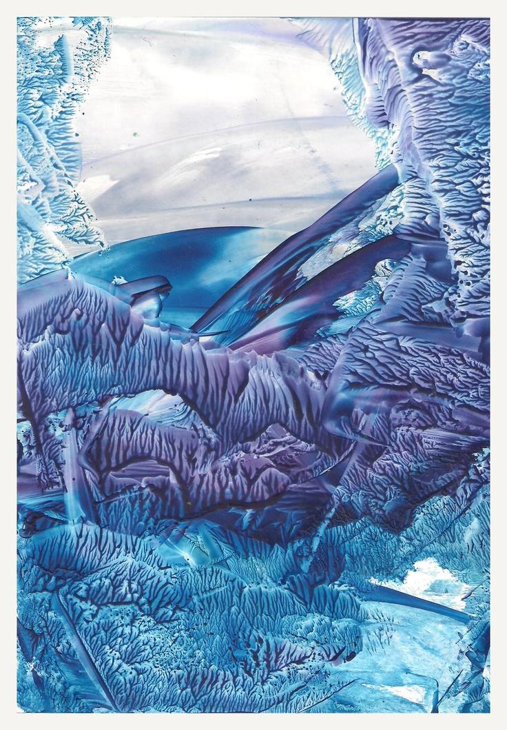 .Blue Encaustic art wax fantasy landscape painting.