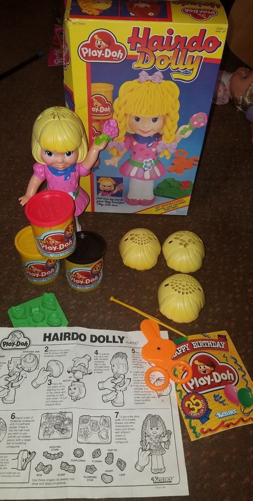 Rare Vintage Hairdo Dolly Super Dough Play Doh Toy 1991    Good used condition overall     Playdoh is still soft    Set is complete and RARE    Please inspect photos for more information     THANKS AND be sure to check out all our other collectibles for sale | eBay!
