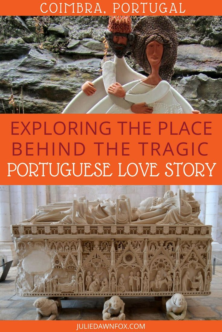 Long before Shakespeare created Romeo and Juliet, Portugal had its own real life romantic tragedy within the royal family in the shape of Pedro and Inês. Their love story has become legend and inspiration for poets and artists throughout the ages. And what better place to learn about their romance than the place where they met? Click through to find out how to explore the place behind the story in Coimbra, Portugal. | Julie Dawn Fox in Portugal #portugal #coimbra #pedroandines #forbiddenlove