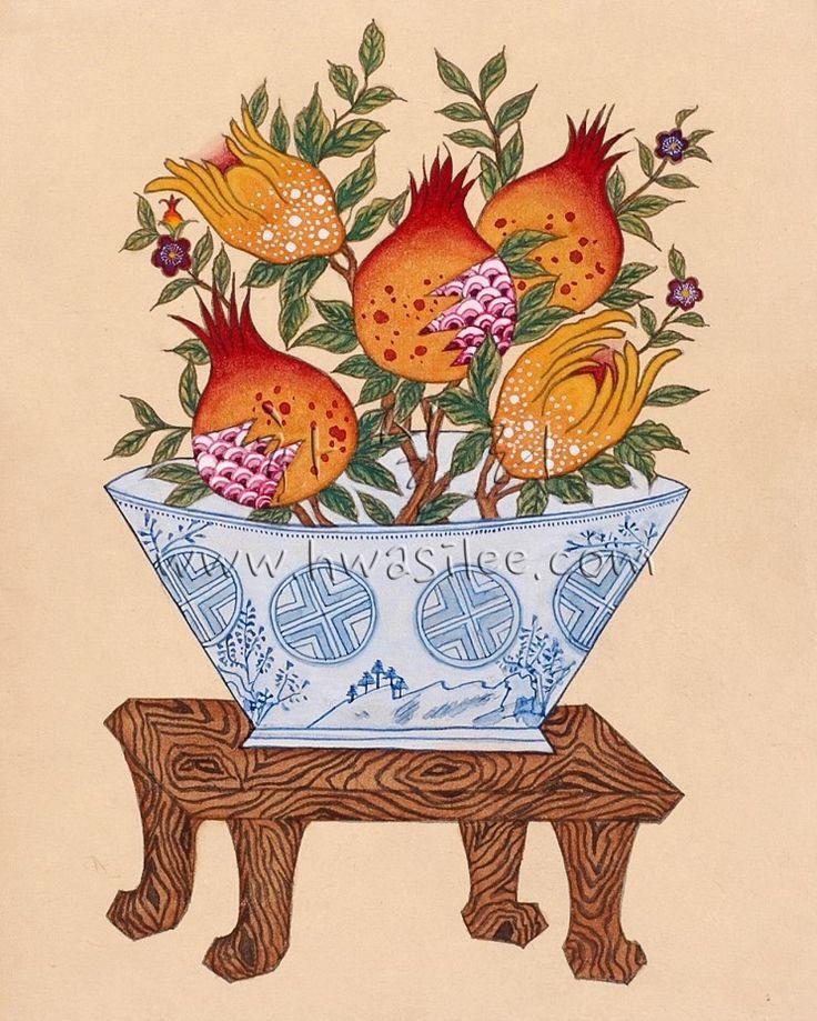 민화 동양화 한국화 석류도 : 네이버 블로그