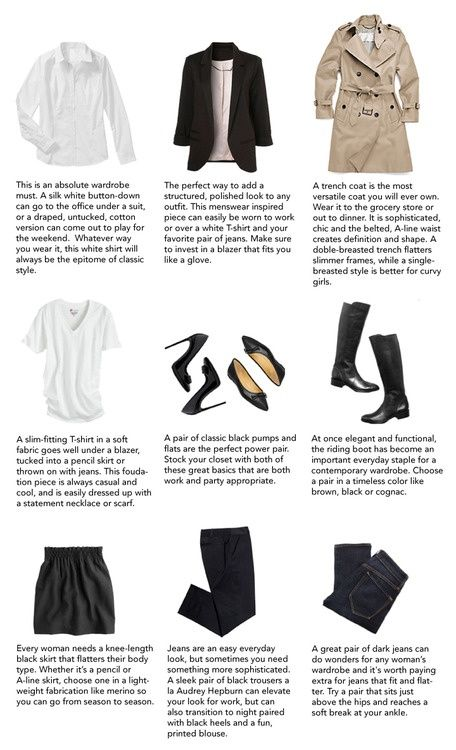 """Basic pieces that every woman should have in her closest."" #wardrobeessentials #howtowear"
