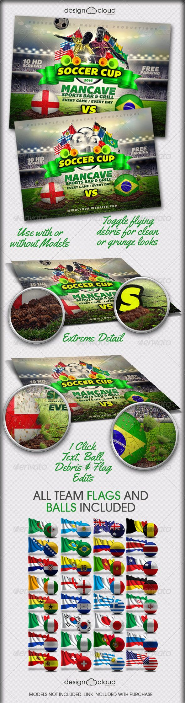 Poster design top 10 - Soccer Cup World Edition Flyer Template