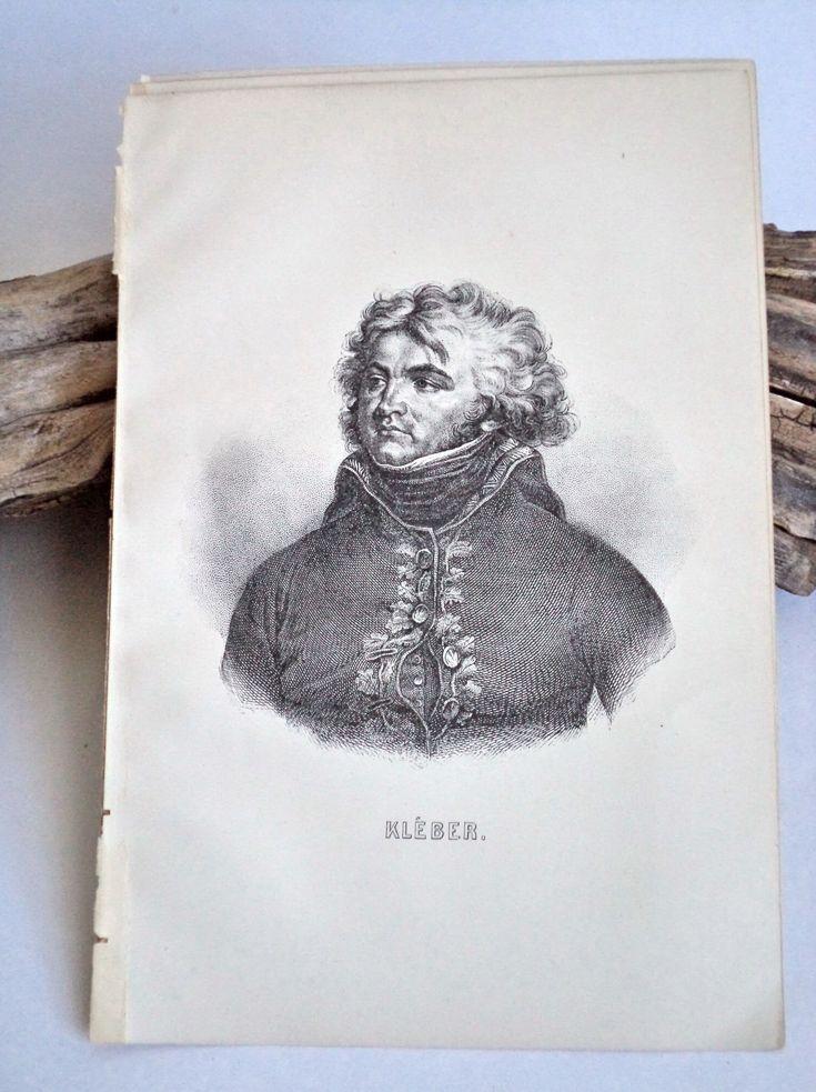 1889 Original KLEBER Steel Engraving Original Print, Kleber Portrait, Napoleon Antique Print, Napoleon Art, Military, Revolutionary War by MushkaVintage3 on Etsy