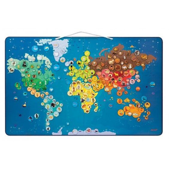 Janod - Magnetic Animals World Map - Entropy Australia #Entropywishlist and #pintowin  fun and educational