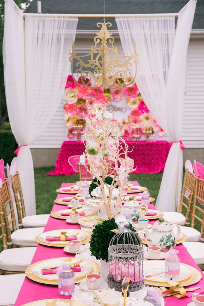 What an elegant Pink Garden Tea Party table! So fabulous! See more parties at CatchMyParty.com