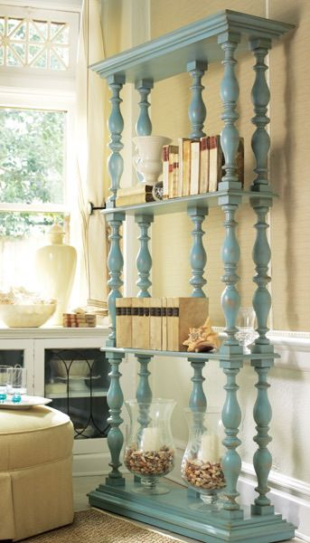 Great display shelf using mdf and staircase spindles and a couple of coast of paint. (All can be found at Home Depot.)  Somerset Etagere