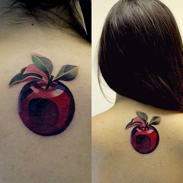 Apple Tattoo By Sasha Unisex http://www.noregretsstudios.co.uk/watercolour-like-tattoos-by-sasha-unisex/