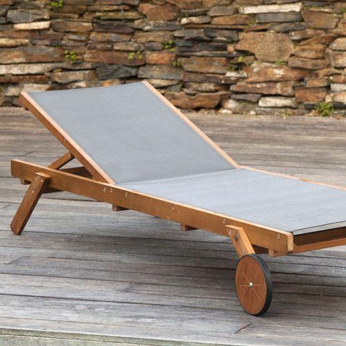 Chaise longue bain de soleil en acacia Cenari anthracite