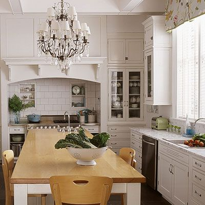 Nothing wrong with a bit of kitchen bling, love the chandelier