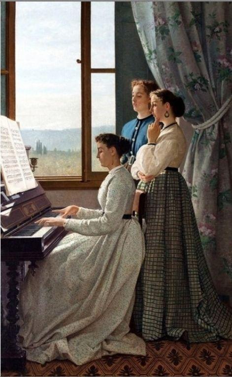 """Silvestro Lega (Itália,1826-1895) - """"Cantando cancoes, 1868"""