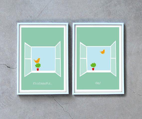 Green art print set, inspirational wall art, bird posters, a beautiful day, open window, inspirational quote art