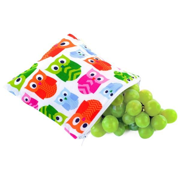 Reusable, machine washable bags for snacks, sandwiches, fruit, school lunches, mini first aid kits, cell phones, car & plane trips, crayons, toiletries, iPods, cameras, hiking, camping, travel, beach gear & more.FDA approved, BPA Free, Lead Free, PVC Free.Measured 7-inches by 7-inches.Machine wash in cold water with like colors, no bleach, line dry recommended.100% cotton fabric exterior.Zipper closure and PVC free waterproof lining.New original prints introduced throughout the year.