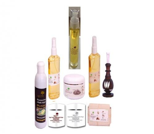 Zineglob complete  cosmetic package  A wonderful Argan oil pack Consists of : Pure Argan Oil 50 ml / Khol 5 gr/ Hair Oil made with argan oil 60 ml / Ghassoul 50 gr/ Face Oil Treatment made with argan oil 60 ml / Day cream of argan 50 ml/ Night cream of argan 50 ml / Argan shampoo 200 ml