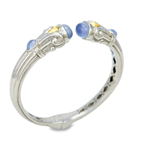 Chalcedony Sterling Silver Bangle with 18K Gold Accents | Cirque Jewels