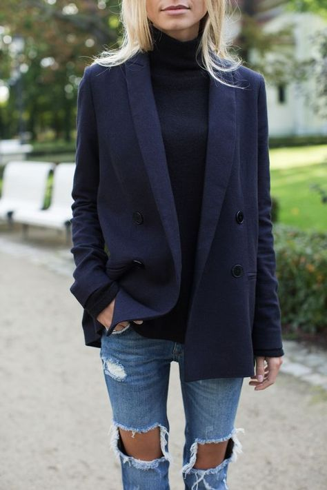 navy blazer with distressed denim (Best Boyfriend Who What Wear)