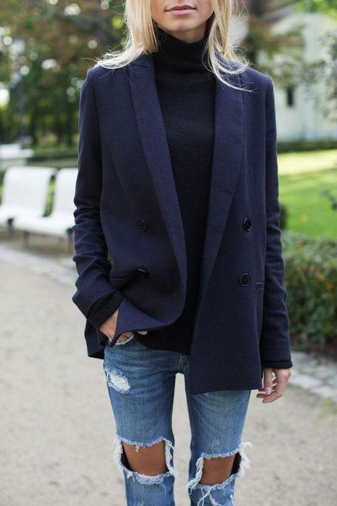 navy blazer with distressed denim