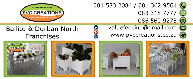 Contact Details for PVC Creations PVC Products Durban North to Ballito. uPVC patio & Outdoor Furniture.