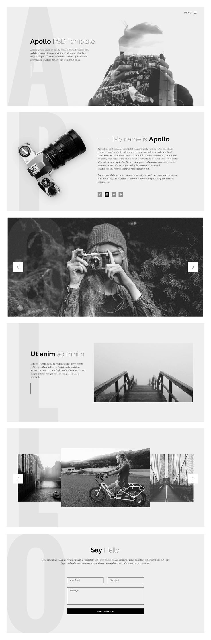 Apollo is a free PSD template that is specifically designed for professional photographers. This template is perfect for those who need an easy, attractive and effective way to share their work with clients.