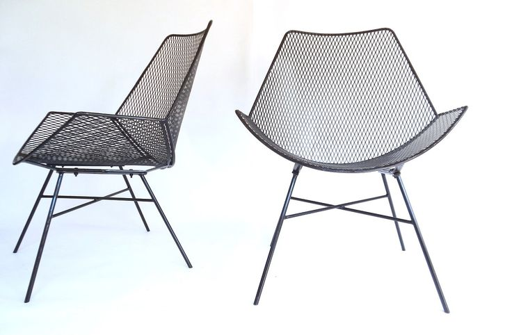 Modernist Wire Metal Patio Chairs / Outdoor Patio Garden Chair Furniture by rustygold73 on Etsy https://www.etsy.com/listing/252945830/modernist-wire-metal-patio-chairs