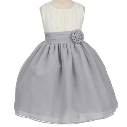 white and grey flower girl dress