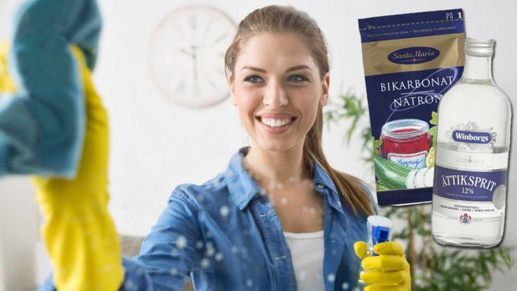 Saknar du rengöringsmedel hemma och ska städa? Lugn, du behöver bara två ingredienser för att hålla rent. Med natriumbikarbonat och ättika håller du hemmet i topptrim – de funkar nämligen utmärkt till rengöring!