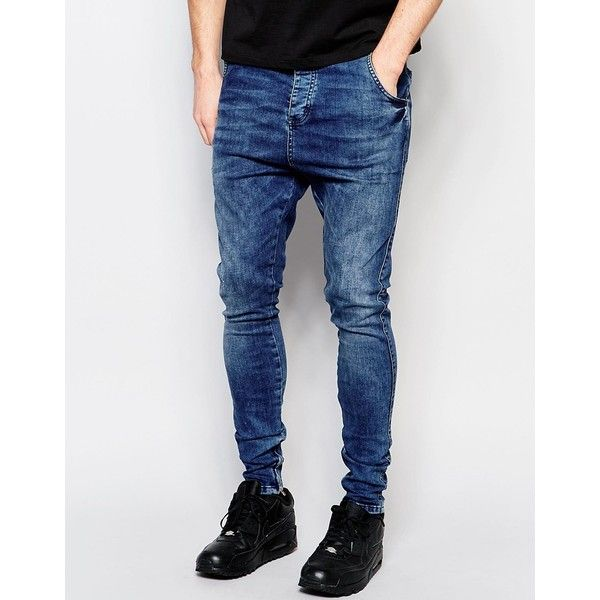 SikSilk Drop Crotch Skinny Jeans (104850 IQD) ❤ liked on Polyvore featuring men's fashion, men's clothing, men's jeans, mid wash blue, mens blue jeans, mens drop crotch jeans, tall mens jeans, mens super skinny jeans and mens skinny jeans