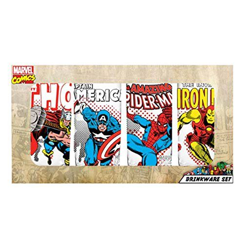 Marvel Comic Heroes Characters with Names (Thor Captain America Spider-Man and Iron Man) 10 oz. G @ niftywarehouse.com #NiftyWarehouse #Thor #Marvel #Avengers #TheAvengers #Comics #ComicBooks
