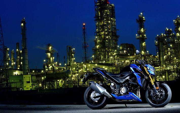 Télécharger fonds d'écran 4k, la Suzuki GSX-S750, 2018 vélos, des paysages nocturnes, japonais de motos, Suzuki