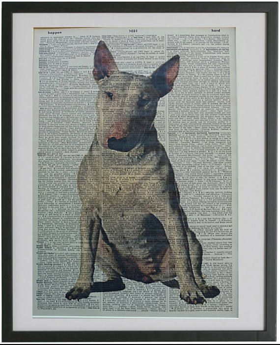 White English Bull Terrier Vintage Dictionary Page Wall Art Picture Print Dog