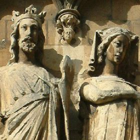 """King Edward I """"Longshanks""""(1239-1307)  Plantagenet king.  Longshanks, because of his height and long legs.  Effigy with his wife, Queen Eleanor of Castile."""