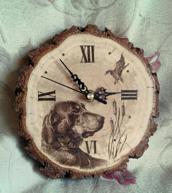 Wall Clock. Hunting Dog. Handmade Pyrography. by AlgirdasPiroArt