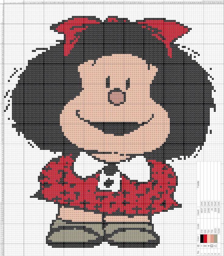 Mafalda Punto de cruz 20 x 23 Centímetros 110 x 126 Puntos 5 colores DMC