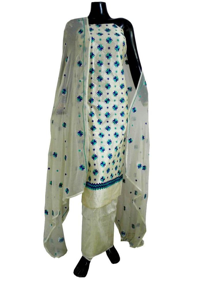Unstitched Phulkari Suit Piece Cotton Silk-Offwhite&Blue