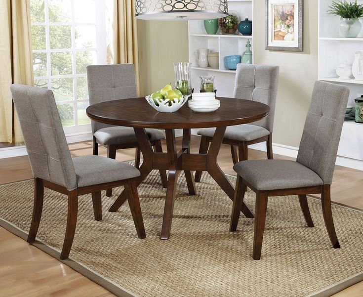 Furniture of America Walnut Round Dining Table Set  | CM3354RT