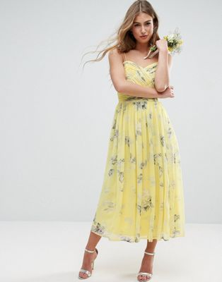 ASOS WEDDING Rouched Midi Dress in Sunshine Floral Print
