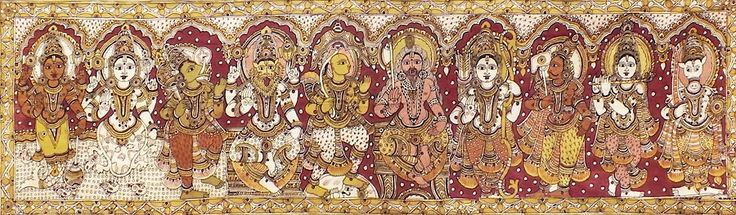 Dashavatara - Ten Incarnations of Lord Vishnu (Kalamkari Paintings on Cotton - Unframed))