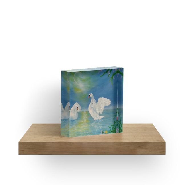 Gifts for animal, swans, lovers, acrylic block