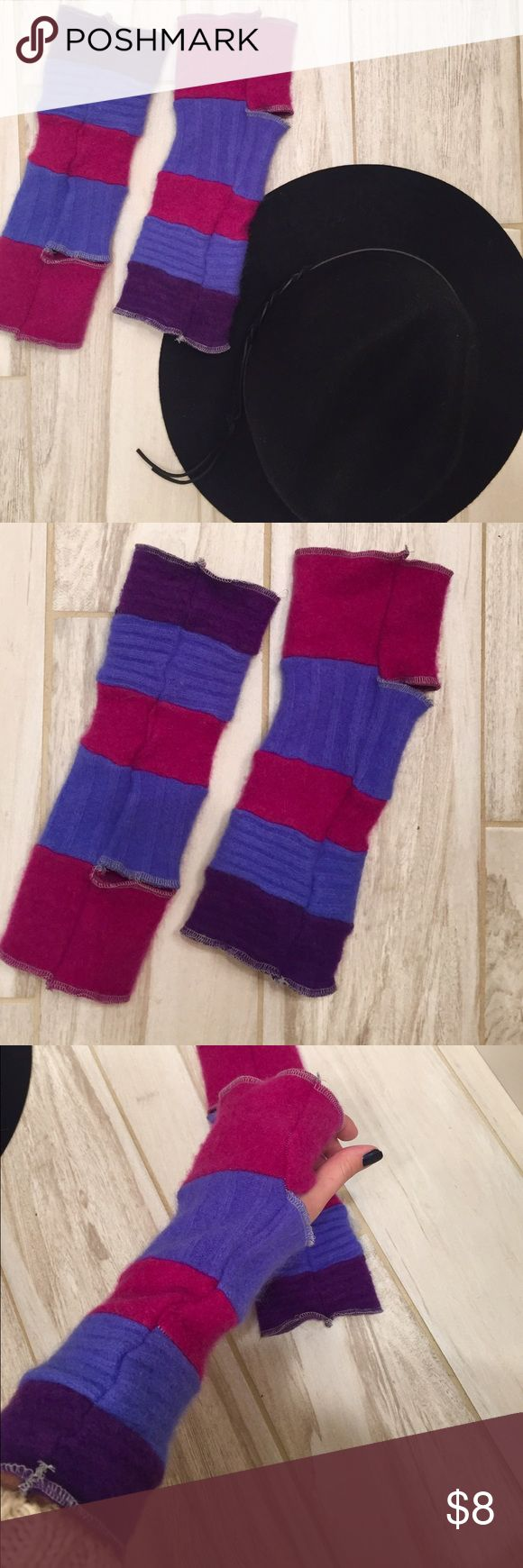 Winter Arm Sleeves Never worn. Pink and purple arm sleeves with thumb holes. Accessories Gloves & Mittens