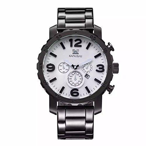 MapofBeauty Herren edelstahl Stahl Uhrenarmband Analoges Quarzwerk rund Modisch und Stilvoll Uhren (Schwarz Uhrenarmband / Wei Zifferbltter) - http://uhr.haus/mapofbeauty/mapofbeauty-herren-edelstahl-stahl-analoges-und-3