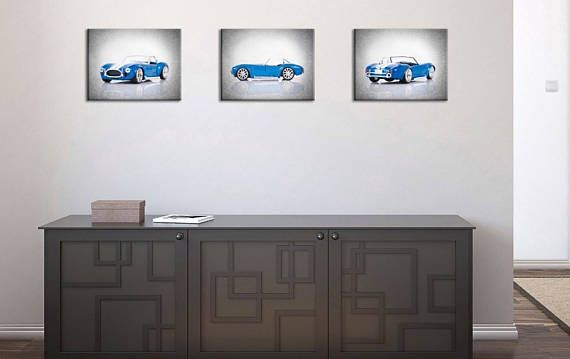 The listing is for discount set of 3 - 1965 Shelby Cobra muscle photo or canvas print photography. These prints works great in any space, adding warmth and character for any Shelby Lover.  ★ Frames are not included ★ I dont sell my prints framed as I would have to charge you so much more than if you just bought the frame yourself.  ➤ HOW TO ORDER  1.- Use drop-down list to select size and material ( Print or Canvas) 2.- Please select the Background color option (Brown ; Gray) 3.- Price also…