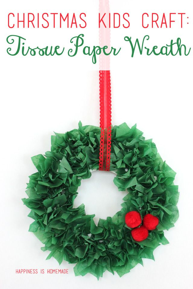 Christmas Kids Craft - Tissue Paper Wreath would be cute in pink for valentines