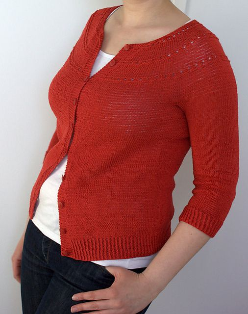 Ruby Tuesday cardigan   Ewa Durasiewicz   Ravelry   Free pattern for a simple cotton cardigan knitted in one piece, top-down, in the round