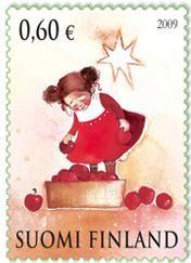 Joulupostimerkki 2009 2/2 - Tyttö ja omenakori Christmas stamp 2009 Finland