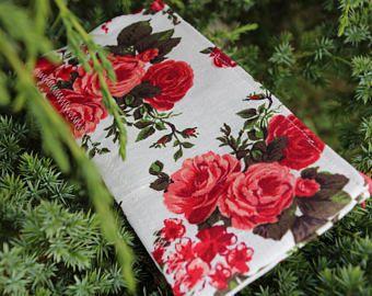 """Caso lino lápiz labial """"Rosas de amor"""" - bolso cosmético / caso / cosmético organizador de lápiz"""