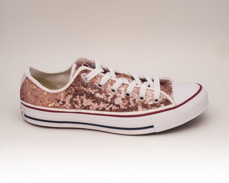 Sequin   Rose Gold Canvas Customized Converse Canvas Low Top Sneakers Tennis Shoes by princesspumps on Etsy https://www.etsy.com/listing/236033589/sequin-rose-gold-canvas-customized